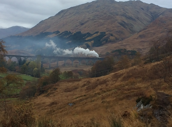 The Jacobite steam train crossing the viaduct.